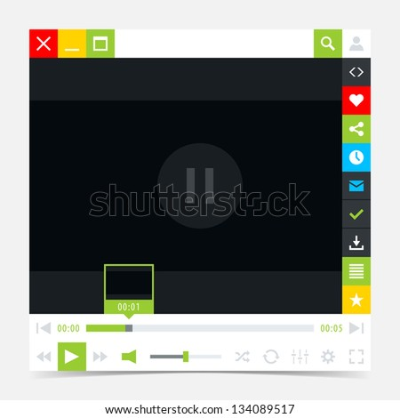 Media player interface with video loading bar and additional movie buttons. Variation 03 (green). Simple solid plain flat tile. Minimal metro cute style. Vector illustration web design element 8 eps