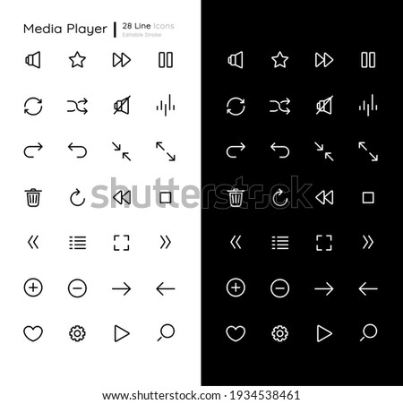 Media player linear icons set for dark and light mode. Audio settings. Play music and stop sound. Customizable thin line symbols. Isolated vector outline illustrations. Editable stroke