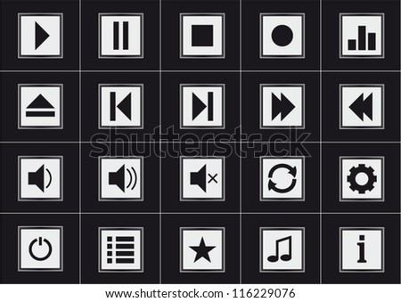 Media player modern black icons set