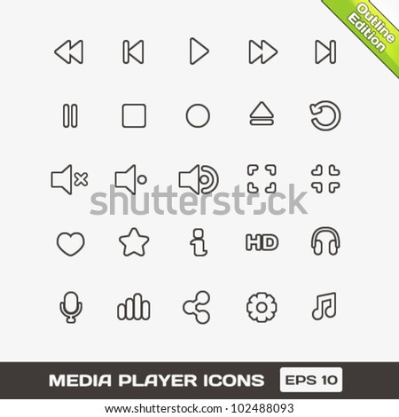 Media Player Outline Vector Icons Set