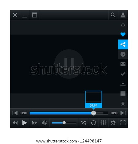 Media player ui interface with video loading bar and additional movie buttons. Variation 02 - Blue color. Modern classic dark style. This vector illustration design element saved in 10 eps