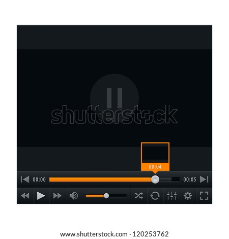 Media player with video loading bar and additional movie buttons. Contemporary classic black dark style. This vector illustration web design element saved in 10 eps