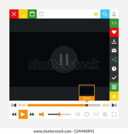 Media player with video loading bar and additional movie buttons. Variation 02 - Orange color. New minimal metro cute style. Simple solid plain flat tile. Vector illustration web design element 8 eps