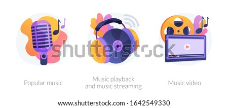Media production, sound digitization, recording studio equipment. Popular music, music playback and music streaming, music video metaphors. Vector isolated concept metaphor illustrations.