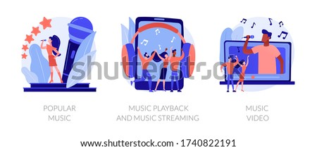 Media production, sound digitization, recording studio equipment. Popular music, music playback and music streaming, music video metaphors. Vector isolated concept metaphor illustrations. Сток-фото ©