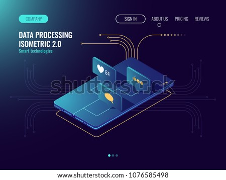 Media social network, incoming massage, mobile application development, social engineering, smartphone with like and message icons dark neon isometric vector