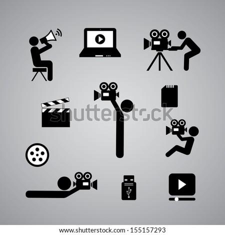 media symbol on gray background