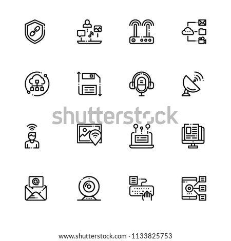 Media technology data saving. EPS 10 vector format. Professional pixel perfect black & white icons optimized for both large and small resolutions. Transparent background. #1133825753
