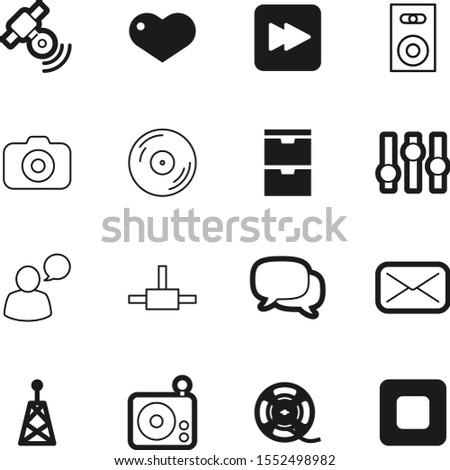 media vector icon set such as: paper, send, stereo, satellite, speaker, settings, mobile, icons, talking, fm, film, spool, heart, tower, comic, photographic, wave, forum, wire, address, idea, home