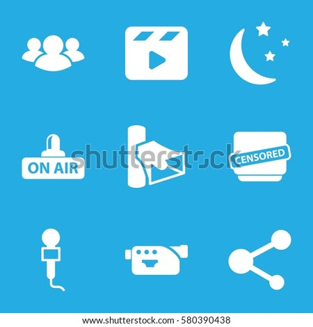 media vector icons set of 9