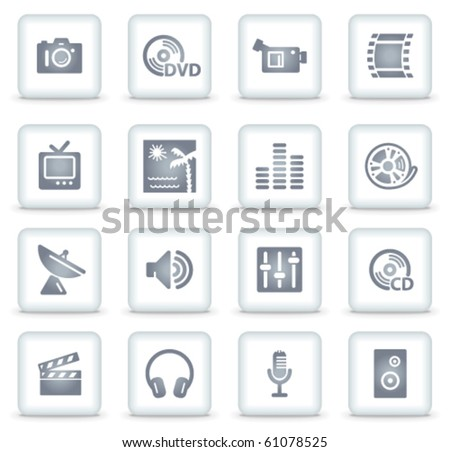 Media vector web icons, white square buttons