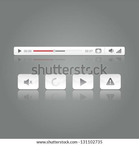 Media Video Player Button Icon Set  Illustration
