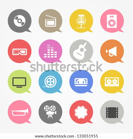Media web icons set in color speech clouds