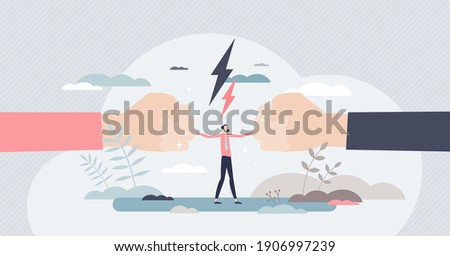 Mediation as conflict compromise and solution management tiny person concept. Disagreement and fight communication settlement with help from third party vector illustration. Business deal conversation Photo stock ©