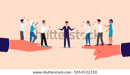 Mediator and settlement of conflicts with business people characters, flat vector illustration. Mediation and professional assistance in business negotiation.