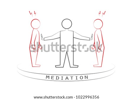 mediator and two arguing persons isolated on the white background, a front view, vector illustration, horizontal