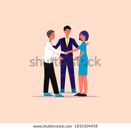 Mediator solving competition or referee finds compromise in conflict between competitors. Mediation in negotiations, flat vector illustration isolated on background