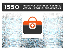 Medic Case and other web interface, business tools, people poses, medical service vector icons. Style is flat symbols, bicolored, rounded angles, white background.