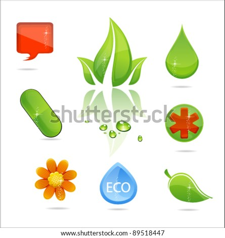 medic symbols and nature leaf