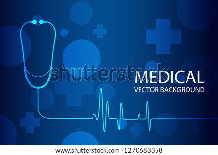 Medical abstract background, ecg background, Stethoscope in medical technology background. Vector illustration
