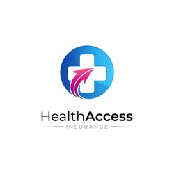 Medical access and insurance logo template, medical cross with up arrow vector illustration. Health care, hospital/clinic, medical center, pharmacy, emergency help and medical center logo template