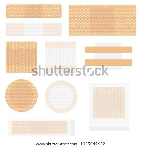 Medical adhesive plaster. Set of medical adhesive plaster. Flat design, vector illustration, vector.