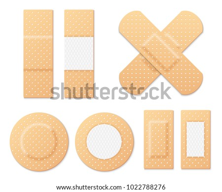 Medical adhesive tape plasters vector set. Illustration of medical tape,plaster, protection and care