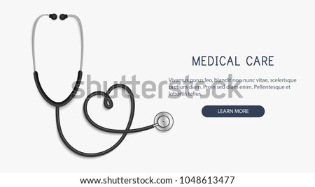 Medical and Health care concept, stethoscope heart shape.Vector Foto stock ©