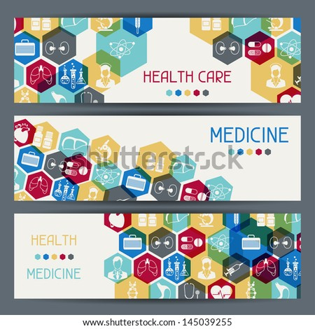 Medical and health care horizontal banners.