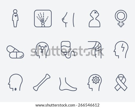 Medical and health care icons, thin line design
