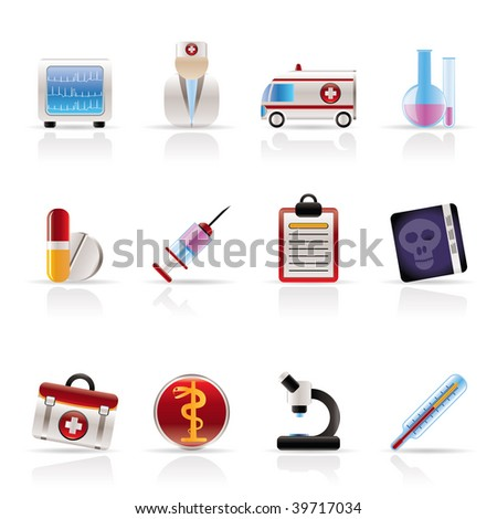 Medical and health care Icons Vector Icon Set