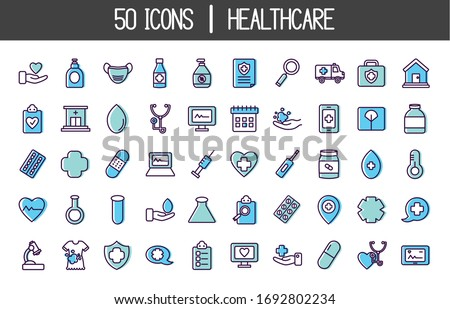 medical and healthcare icon set over white background, line color style, vector illustration