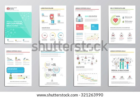 Medical and Healthcare infographics elements for corporate brochures. Flat design. Vector