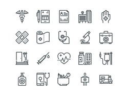 Medical and Healthcare. Set of outline vector icons. Includes such as Emergency, Heartbeat, Medical equipment and other.  Editable Stroke. 48x48 Pixel Perfect.