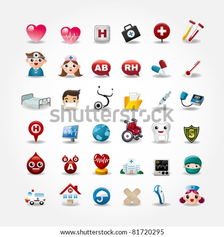 Medical and Hospital icons collection,vector