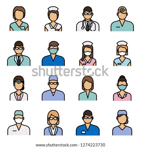 Medical and medical staff icons pack. Isolated medical and medical staff symbols collection. Graphic icons element #1274223730