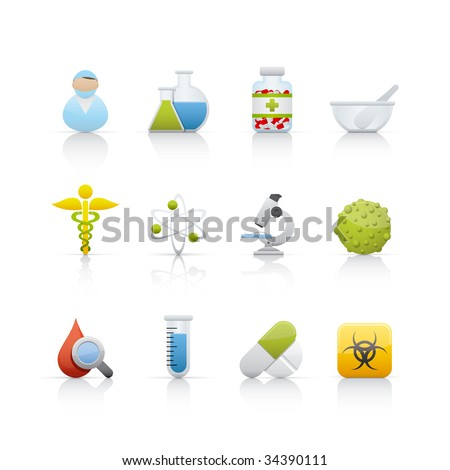 Medical and Pharmacy Set of icons on white background in Adobe Illustrator EPS 8 format for multiple applications.