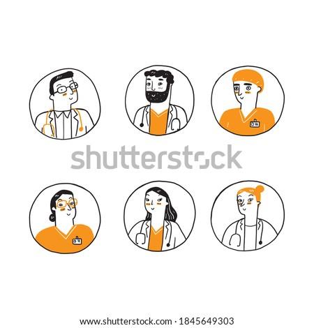 Medical avatars set . Medical clinic staff doodle avatars. icon