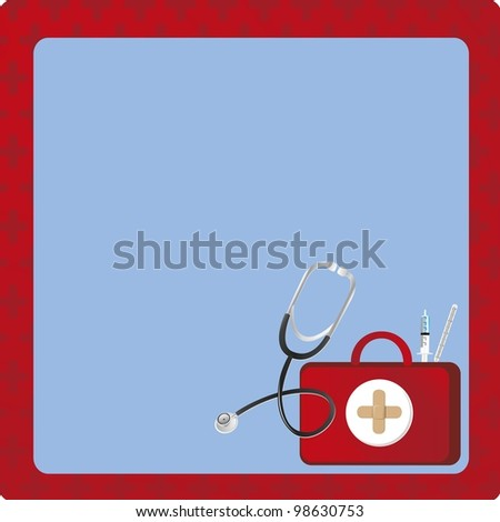 medical backgound with medicine elements and red Cross background