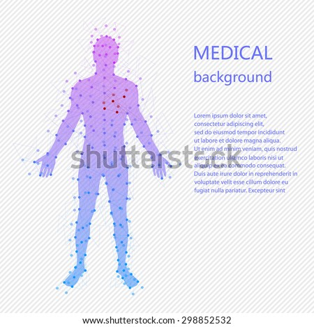 Medical background. Abstract model of man with points and lines. Vector background. Human anatomy Stockfoto ©