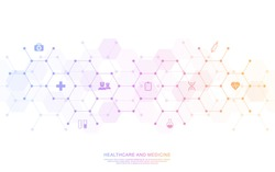 Medical background and healthcare technology with flat icons and symbols. Design template of concept and idea for health care business, innovation medicine, health safety, science. Vector illustration