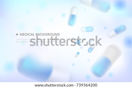 Medical background.blurred capsules. Painkillers, antibiotics, vitamins, amino acids, minerals, bio active additive, sports nutrition. Icons of medicament.