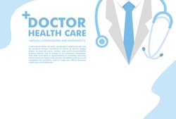 Medical background with doctor close up character with stethoscope. Web banner with medical staff. Health care and medicine concept.