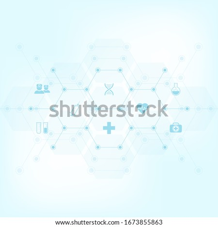 Medical background with flat icons and symbols. Template design with concept and idea for healthcare technology, innovation medicine, health, science, and research. Vector illustration