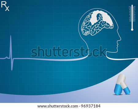 Medical background with human brain, pill on blue graph. Vector illustration. - stock vector
