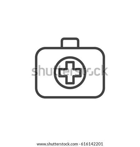 Medical bag line icon, outline vector sign, linear style pictogram isolated on white. First aid kit symbol, logo illustration. Editable stroke. Pixel perfect