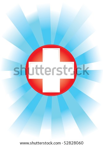 medical banner on white background with blue rays streaming out of red cross in the middle (AI8 with gradient) - stock vector
