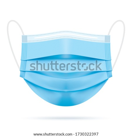 Medical blue face mask, realistic vector illustration. Covid-19 protection surgical three ply mouth mask with shadow, isolated on white. Disease and pollution protective mask for personal health safety.