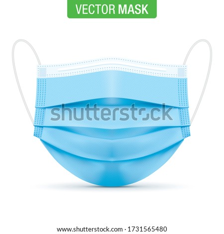 Medical blue face mask, vector illustration. Virus protection surgical mask, standing on a white background in a front view. Disease protective disposable mask with elastic ear loop band.