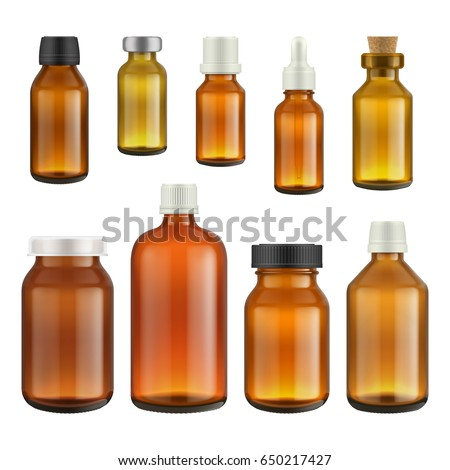 Medical bottle glass isolated on white background. Vector packaging mockup with realistic pharmacy bottle